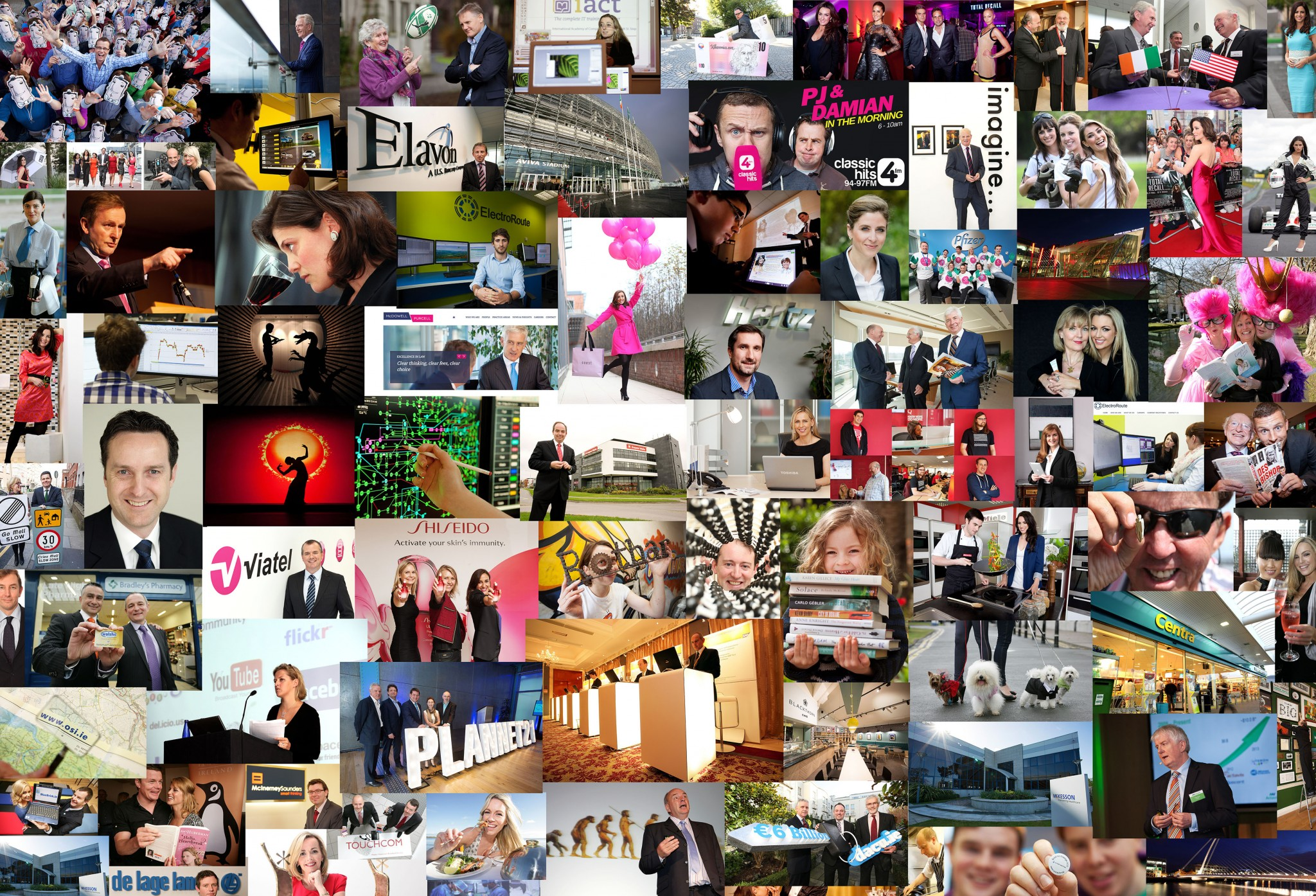 Collage of press PR corporate commercial photography images www.1image.ie