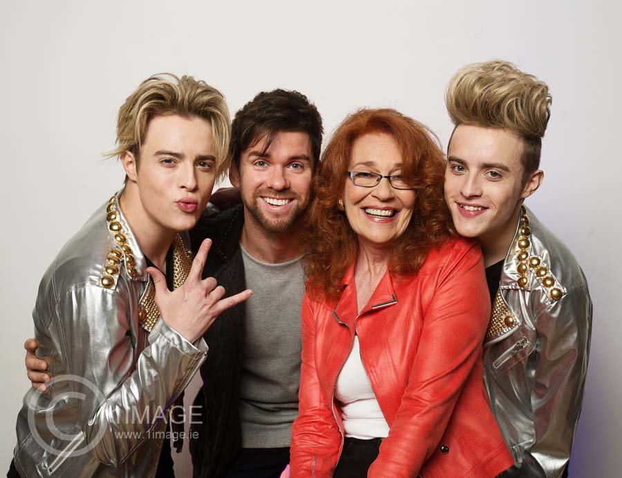 NO REPRO FEE - Press Use TG4 Autumn Schedule Launch 2016 at The Smock Alley Theatre, Dublin Pictured: Junior Eurovision Shows Jedward, Eoghan McDermott and Sandie Jones at todays TG4 Autumn Schedule Launch Photographer: 1IMAGE/Bryan Brophy 1IMAGE PHOTOGRAPHY Studio: +353 1 493 9947 / Mob: +353 87 246 9221