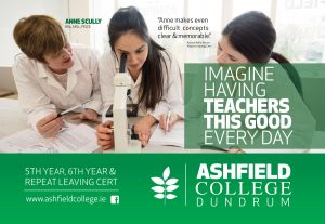 Commercial poster created for Ashfield College Dundrum by www.1image.ie