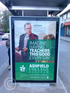 Commercial poster created for Ashfield College Dundrum by www.1image.ie Bus Shelter Bird Avenue Dublin