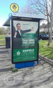 Commercial poster created for Ashfield College Dundrum by www.1image.ie Bus Shelter Nutrgove Avenue Dublin
