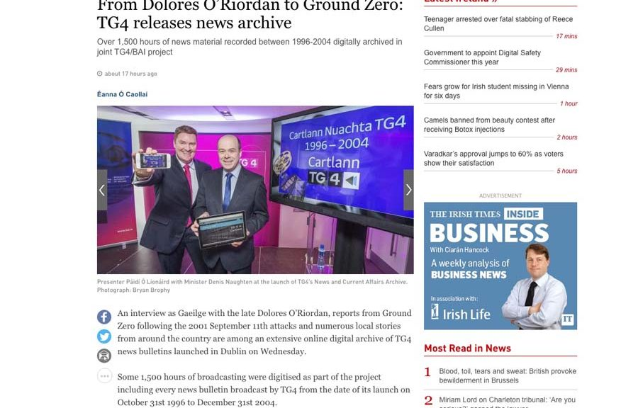 Minister Naughten Launches TG4 News and Current Affairs Archive. Corporate Press PR Photographers media coverage in Irish Times ww.1image.ie