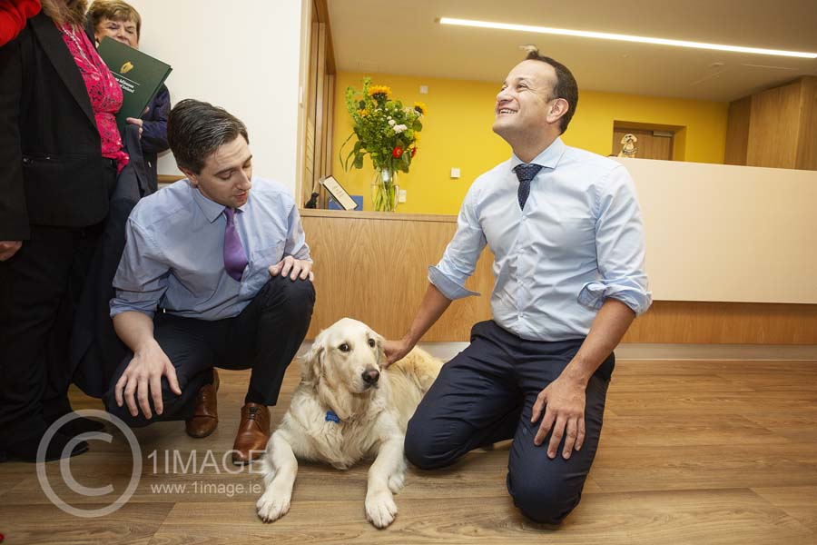 Press PR Photography: Get results! Leo Varadkar Simon Harris with therapy dog Rian www.1image.ie