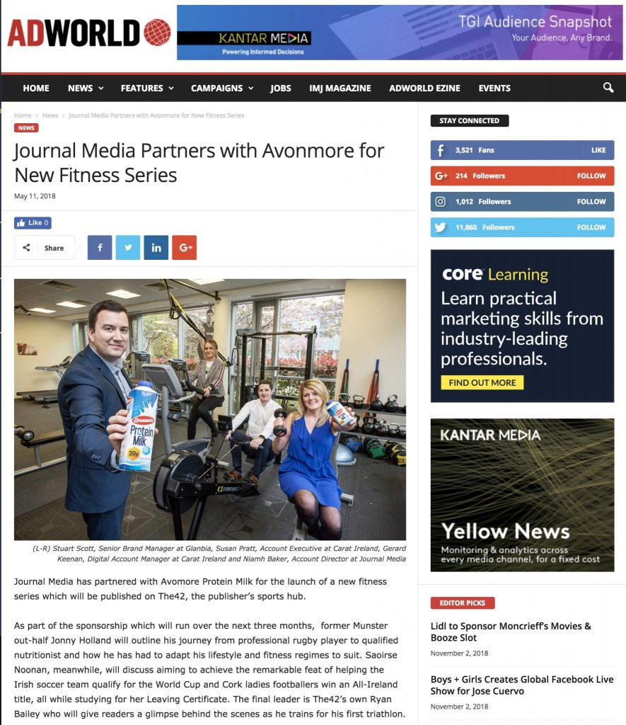 Journal Media Partners with Avonmore for New Fitness Series Press PR Photocall www.1image.ie