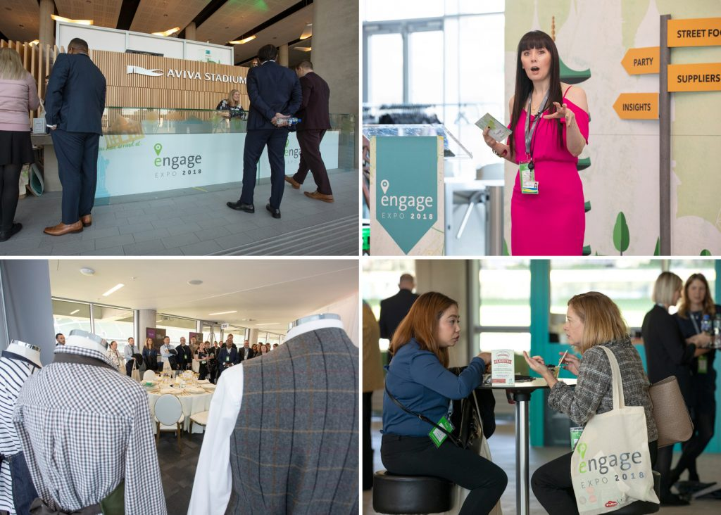 Collage of corporate images at conference engage expo aviva stadium Corporate event photography www.eventimage.ie