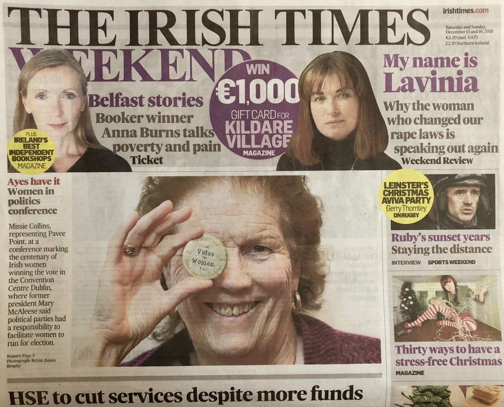 Irish Times front page cover of woman holding medal votes for women at Women in Politics Conference, The Convention Centre, event photographer dublin www.1image.ie