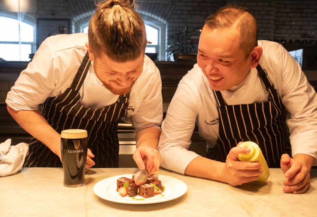 Two chefs at Guinness Storehouse Dublin with Guinness & food. Commercial Food & Drink Photography www.1mage.ie
