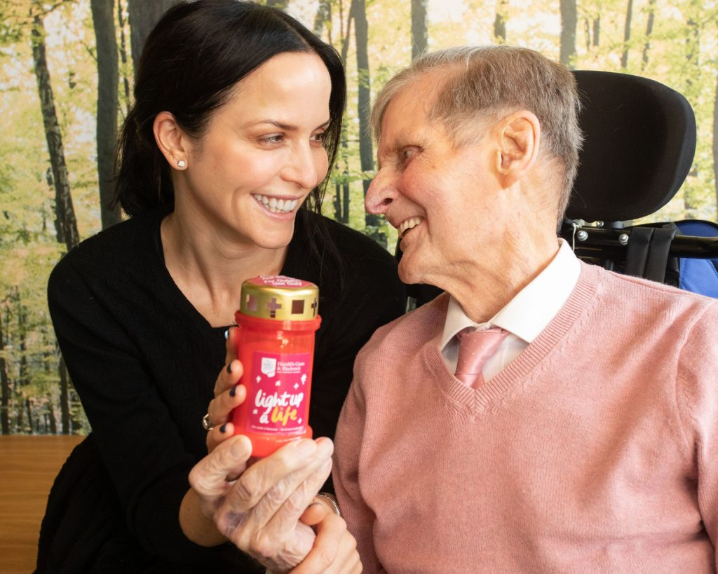 Singer Andrea Corr pictured with patient Harry Sheill launching Light Up A Life at Our Lady's Hospice & Care Services in Harold's Cross PR Photocall Photographer Dublin