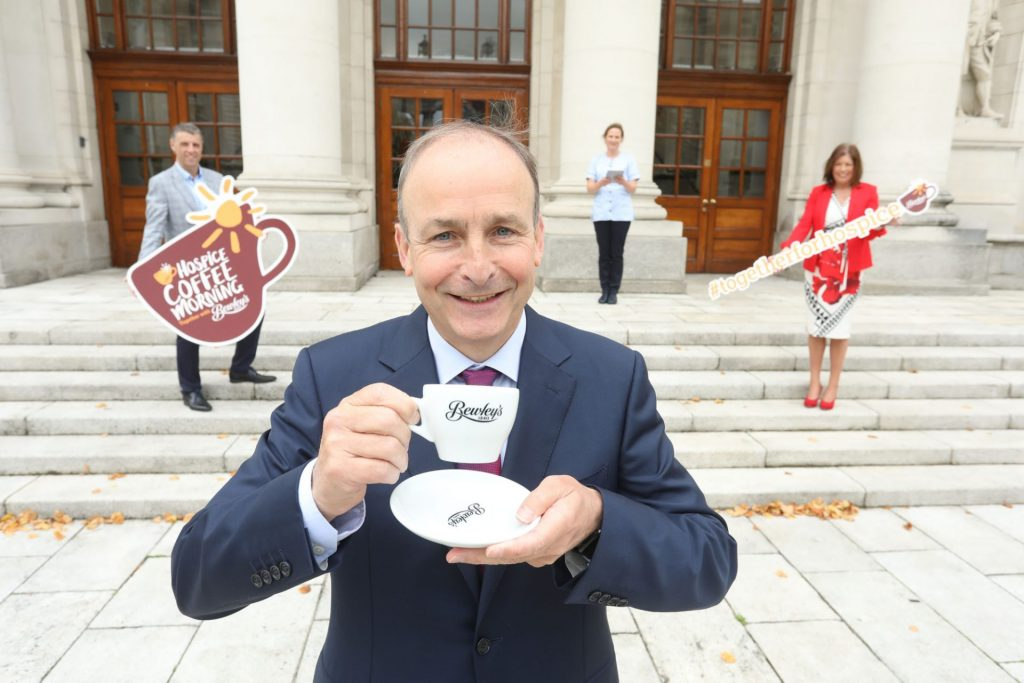Press PR Photocall Photographer Micheál Martin holding a cup of Bewley's coffee launches Hospice Coffee Morning with Bewley's Ireland & UK www.1image.ie