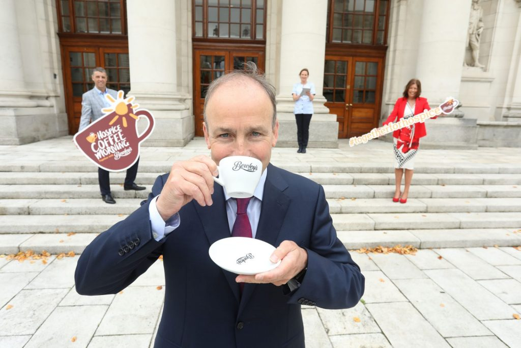 Press PR Photocall Photographer Micheál Martin drinking a cup of Bewley's coffee launches Hospice Coffee Morning with Bewley's Ireland & UK www.1image.ie