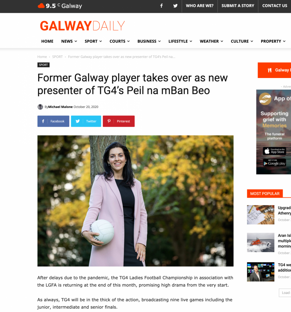 PR Photocall Media Coverage Galway Daily tear sheet.  Maire Ni Bhraonáin tossing GAA football announces new role as presenter of TG4's Peil na mBan Beo.